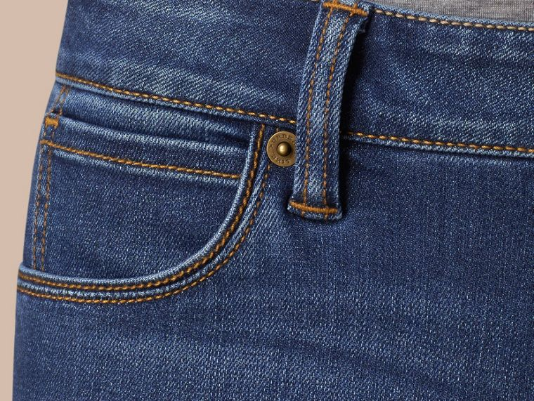 Skinny Fit Low-rise Power-stretch Jeans in Mid Indigo - Women | Burberry - cell image 1