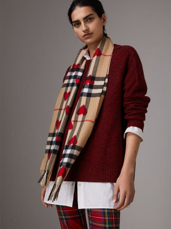 The Classic Cashmere Scarf in Check and Hearts in Parade Red | Burberry United States - cell image 2