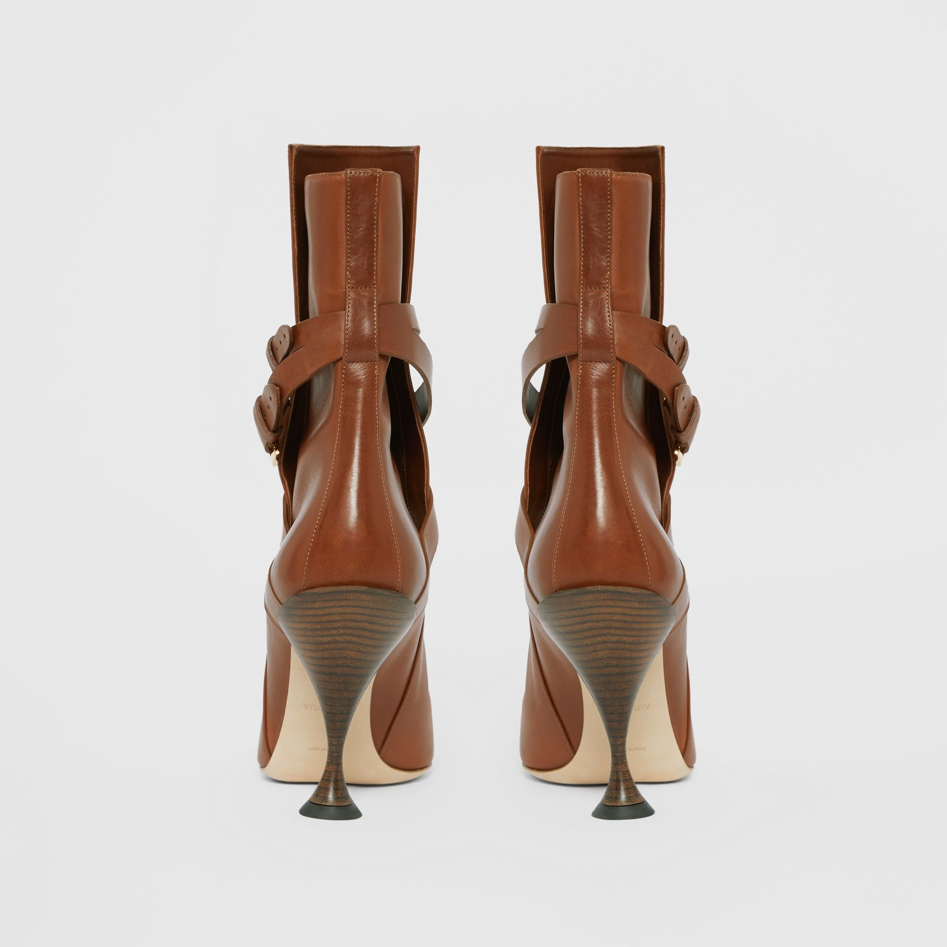 Strap Detail Leather Ankle Boots in Tan - Women | Burberry Hong Kong S.A.R - gallery image 4