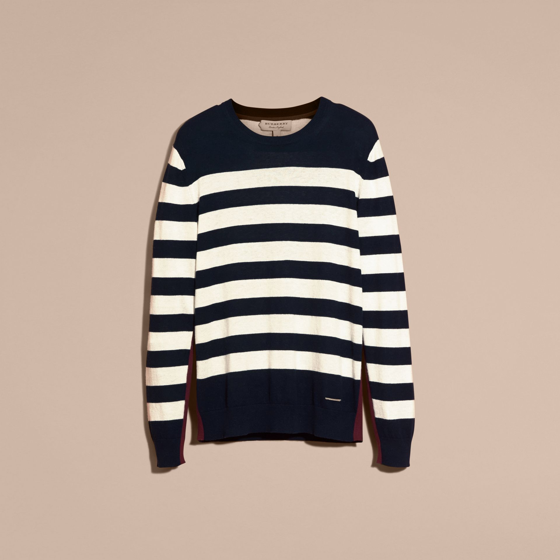 Navy Striped Cashmere Cotton Sweater Navy - gallery image 4