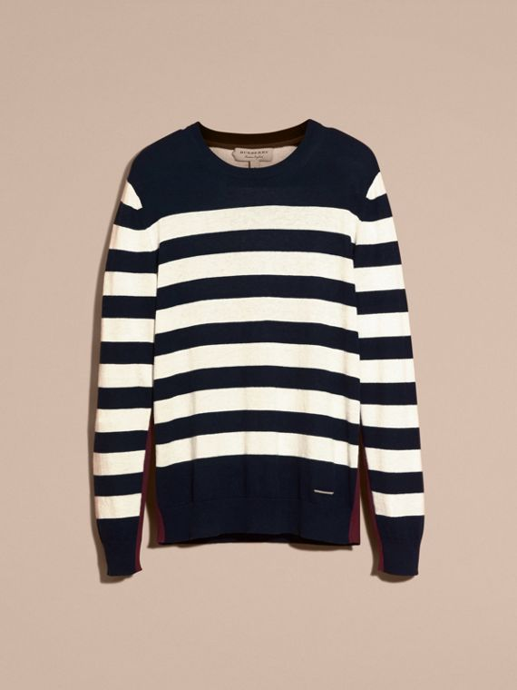 Navy Striped Cashmere Cotton Sweater Navy - cell image 3