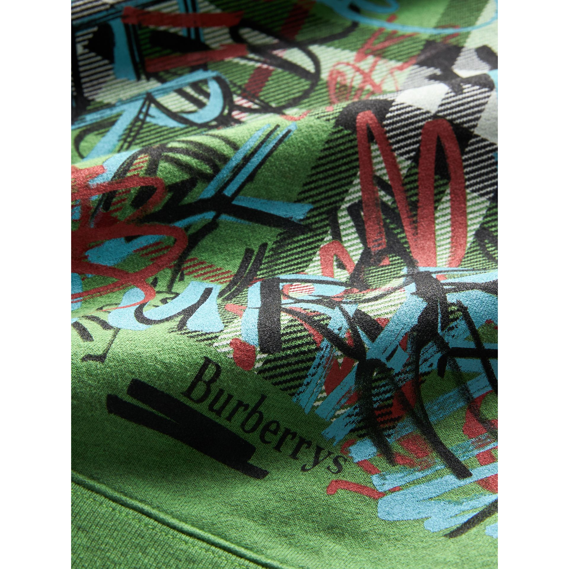 Graffiti Scribble Check Print Cotton Sweatshirt in Lime Green - Girl | Burberry - gallery image 1