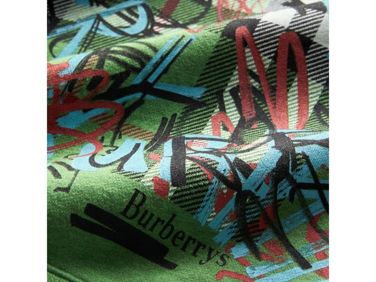 Graffiti Scribble Check Print Cotton Sweatshirt in Lime Green - Girl | Burberry - cell image 1