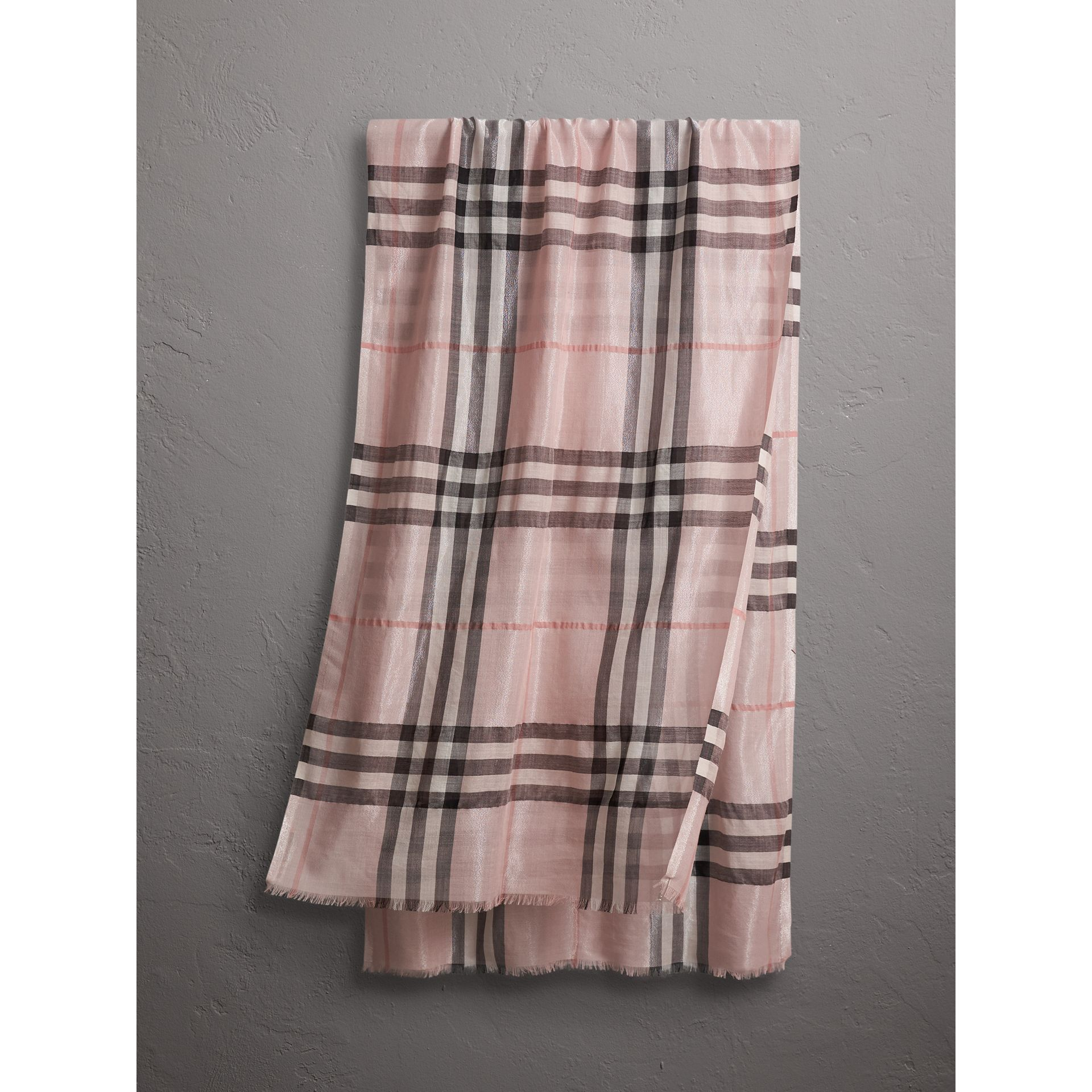 Metallic Check Silk and Wool Scarf in Ash Rose/silver - Women | Burberry - gallery image 1