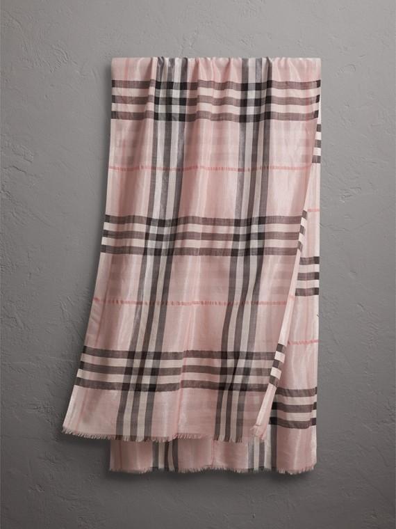メタリックチェック シルク&ウール スカーフ (アッシュローズ/シルバー)