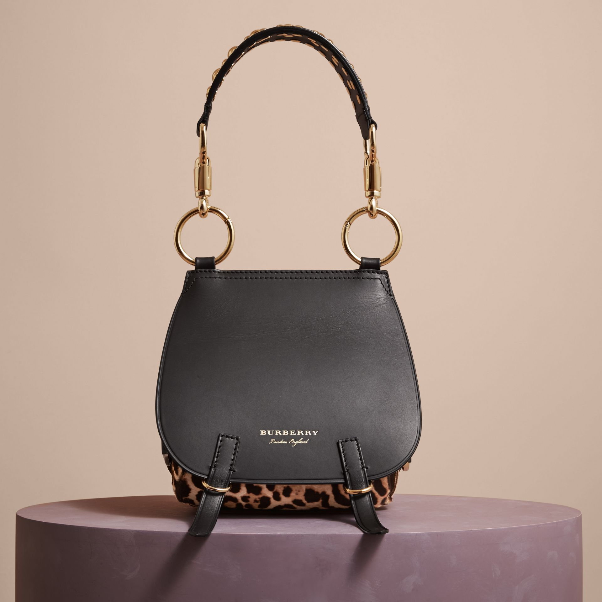 The Bridle Bag in Leather and Calfskin in Black - Women | Burberry - gallery image 8