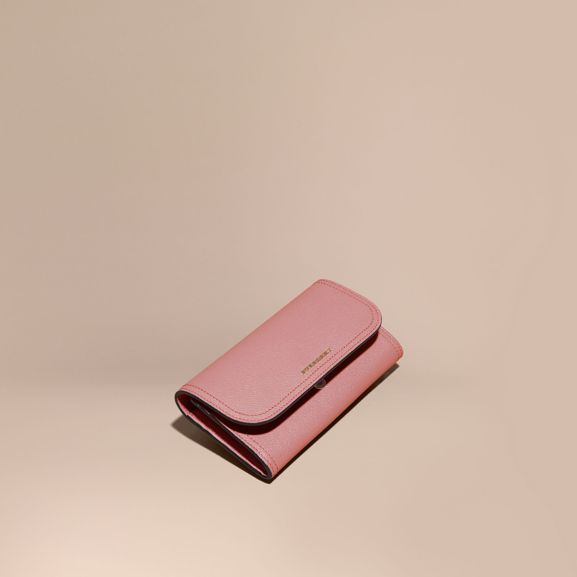 Grainy Leather Slim Continental Wallet in Dusty Pink - Women | Burberry - gallery image 1