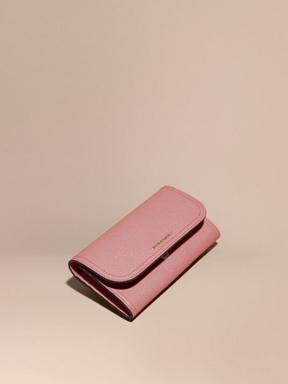 Grainy Leather Slim Continental Wallet in Dusty Pink