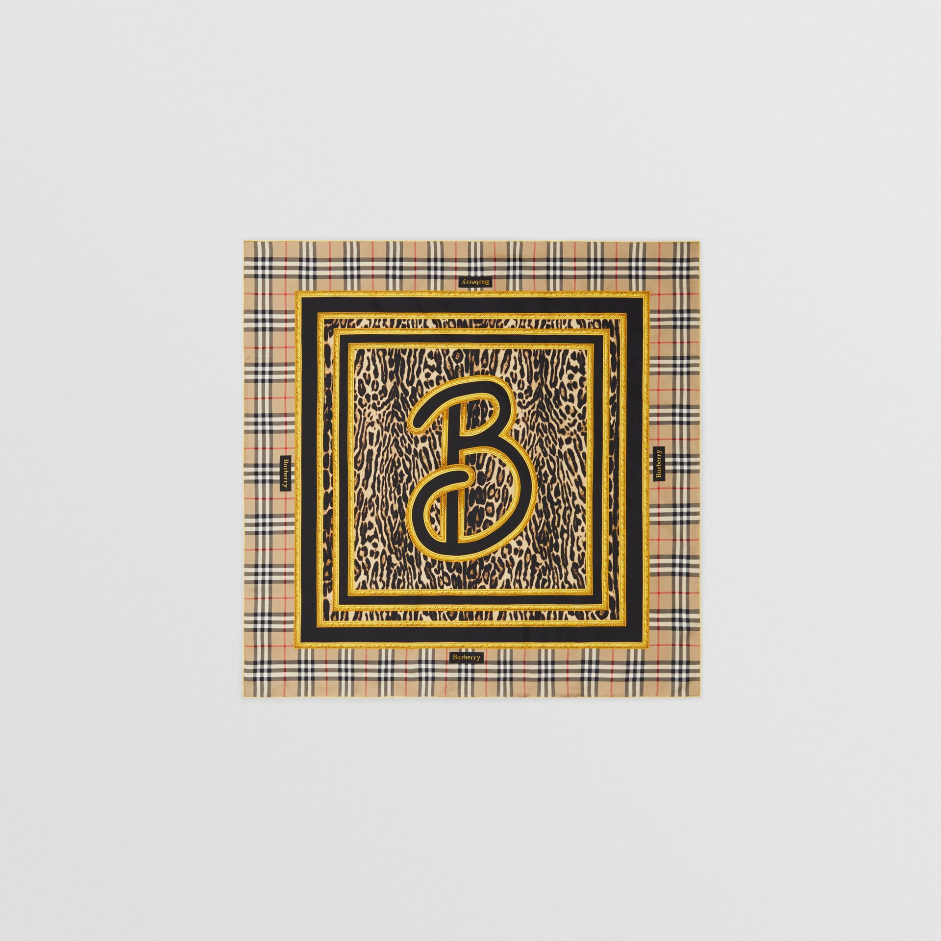 Archive Scarf Print Silk Square Scarf in Dark Mustard | Burberry United Kingdom - gallery image 0