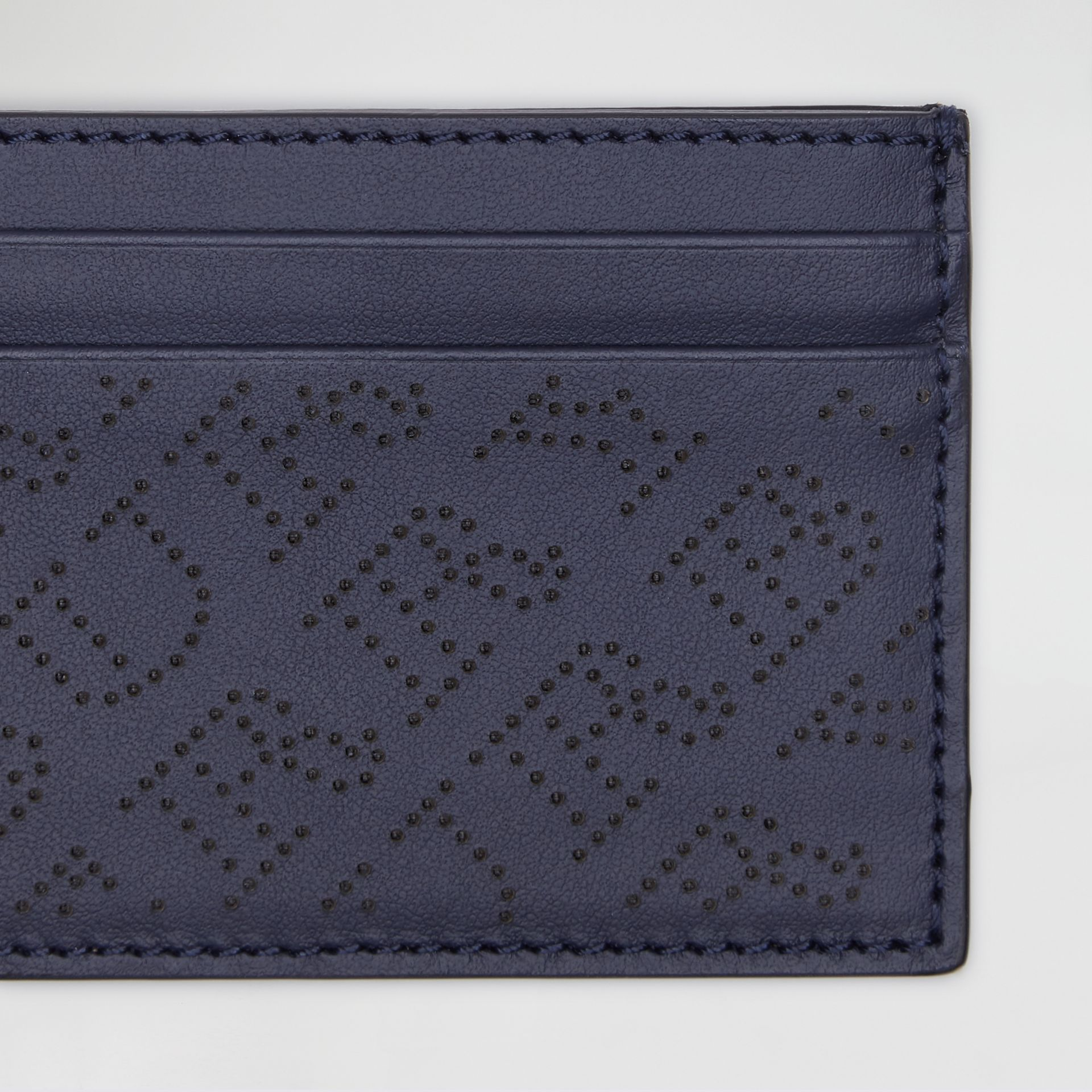 Perforated Logo Leather Card Case in Navy - Women | Burberry - gallery image 1