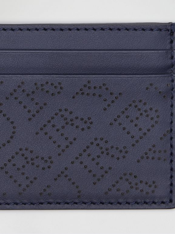 Perforated Logo Leather Card Case in Navy - Women | Burberry Australia - cell image 1