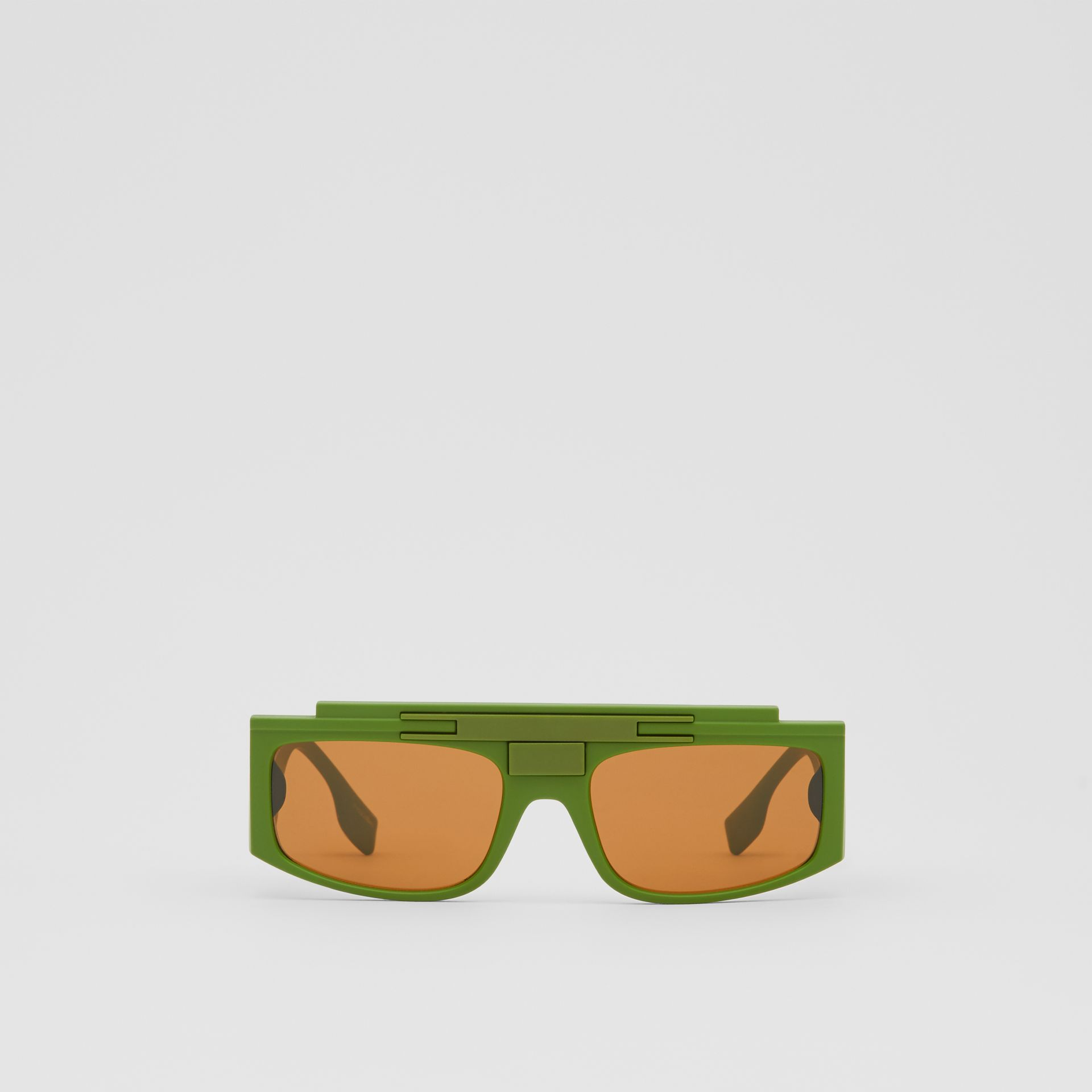 Rectangular Frame Sunglasses in Green - Women | Burberry - gallery image 0