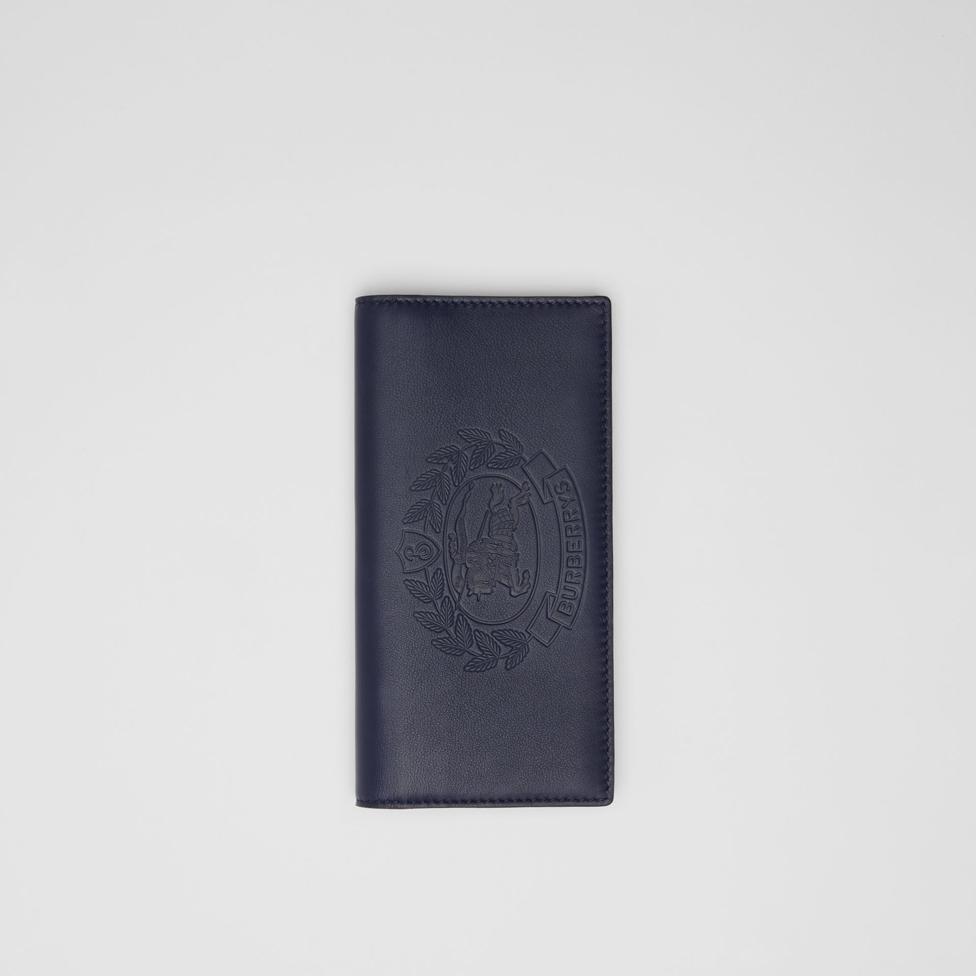 Embossed Crest Leather Continental Wallet in Regency Blue - Men | Burberry - gallery image 0