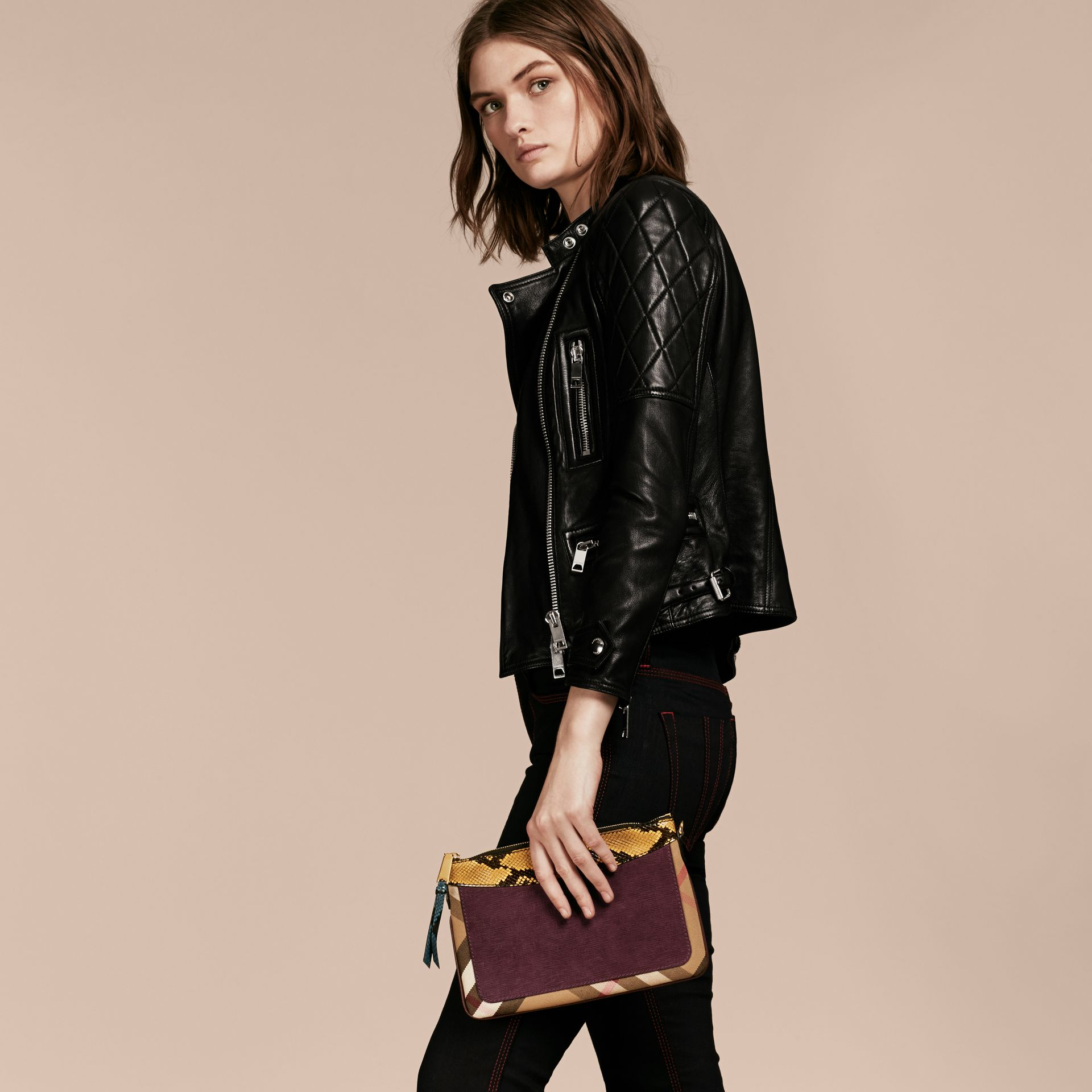 Leather, House Check and Snakeskin Clutch Bag in Elderberry - gallery image 4