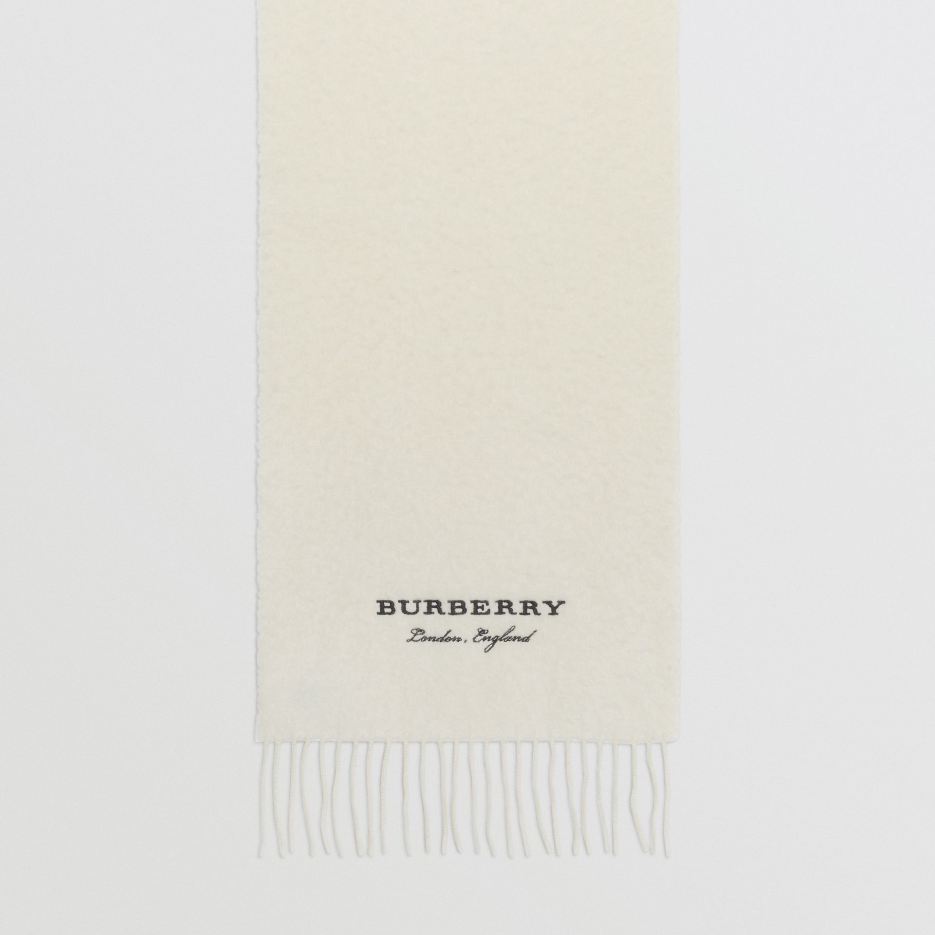 Embroidered Cashmere Fleece Scarf in Ivory | Burberry United Kingdom - gallery image 4