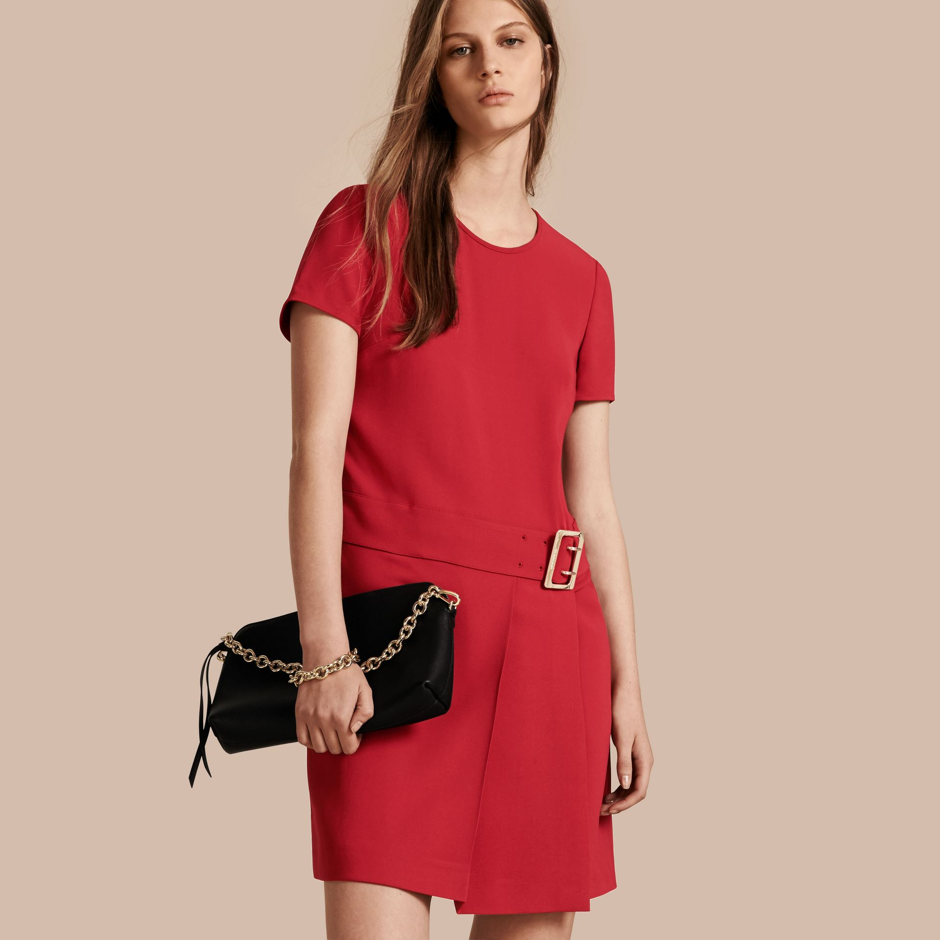 Buckle Detail Pleated Shift Dress in Parade Red - gallery image 1