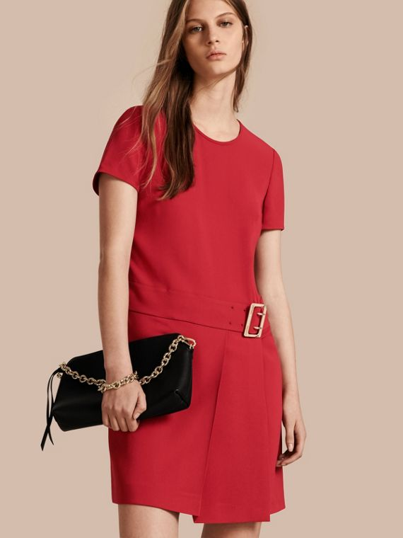 Buckle Detail Pleated Shift Dress in Parade Red