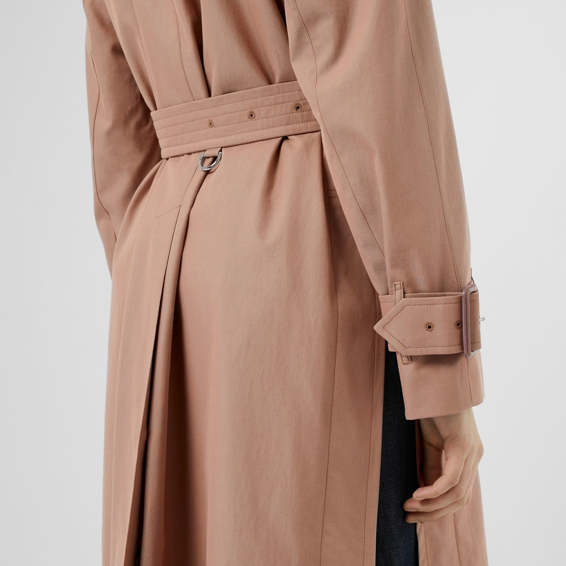 Tropical Gabardine Belted Car Coat in Pink Apricot - Women | Burberry - gallery image 4