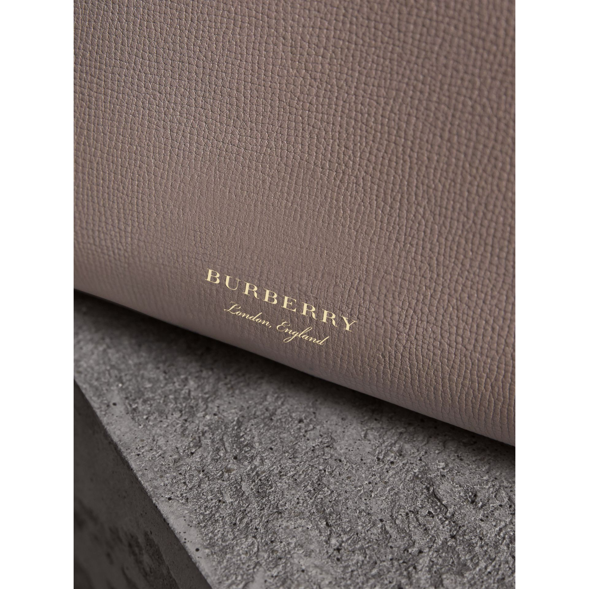The Medium Banner in Leather and House Check in Thistle Grey - Women | Burberry - gallery image 1