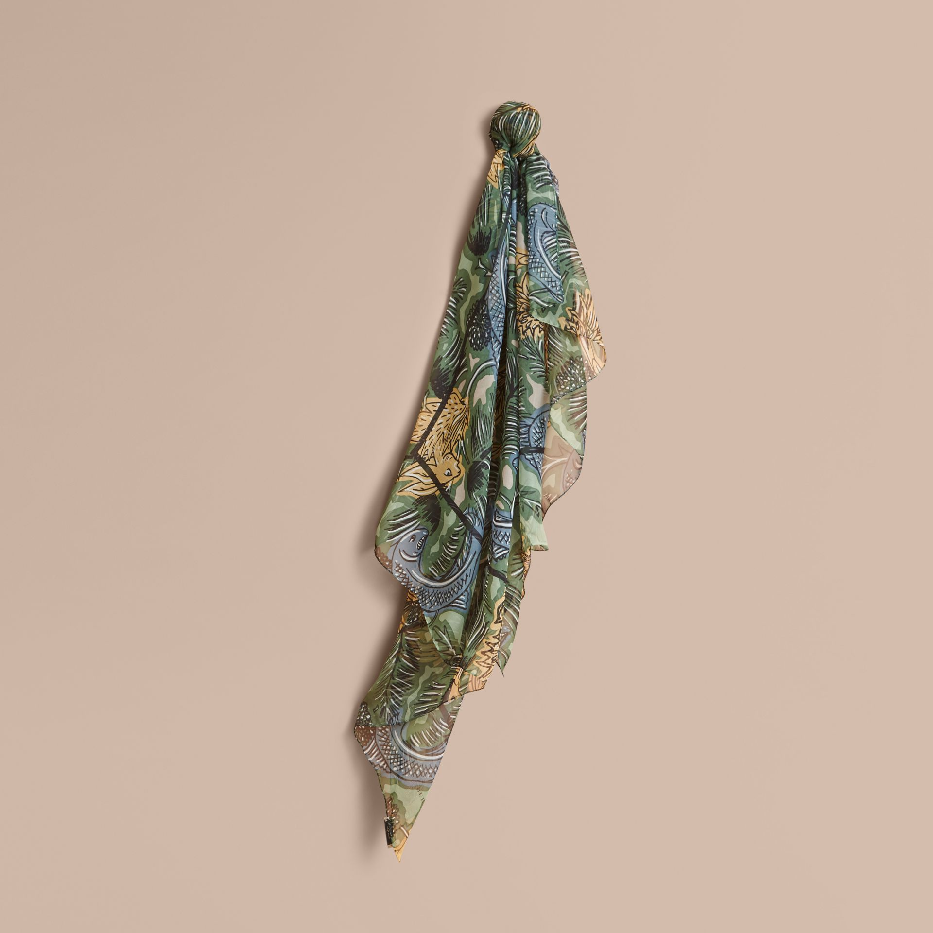 Beasts Print Lightweight Silk Scarf in Sage Green - Women | Burberry Australia - gallery image 1