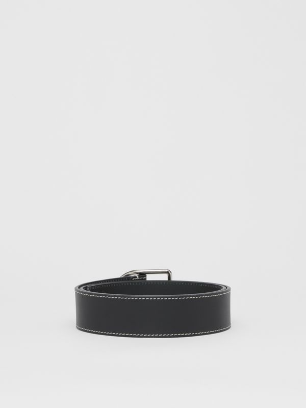 Topstitch Detail Leather Belt in Black - Men | Burberry Canada - cell image 3
