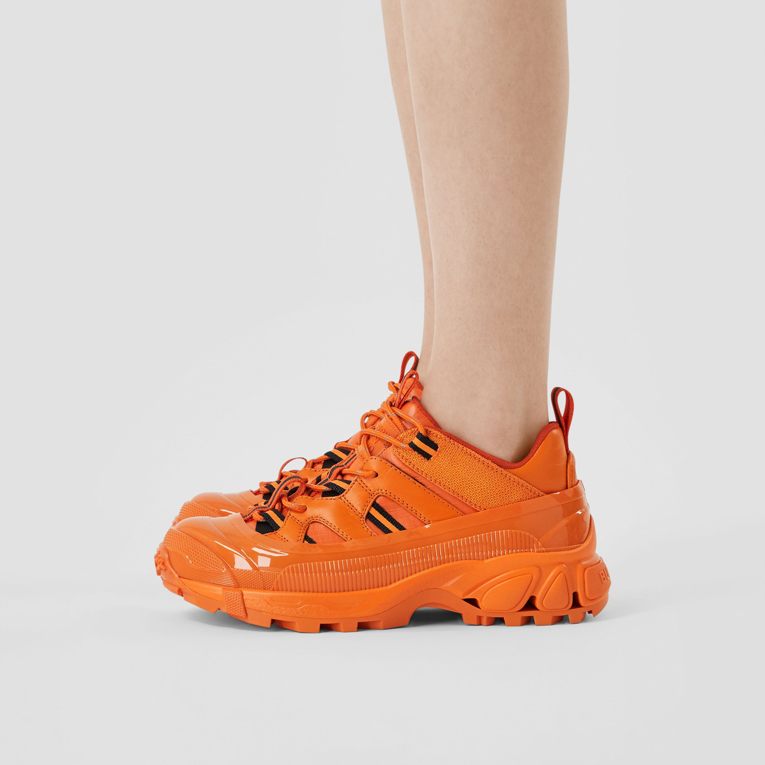 Leather and Nylon Arthur Sneakers in Bright Orange - Women | Burberry - 3