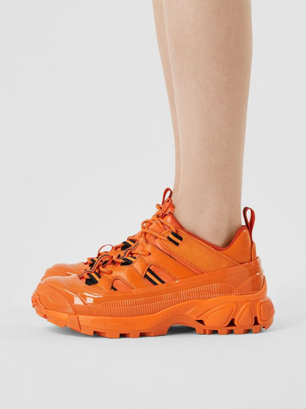 Leather and Nylon Arthur Sneakers in Bright Orange - Women | Burberry - cell image 2