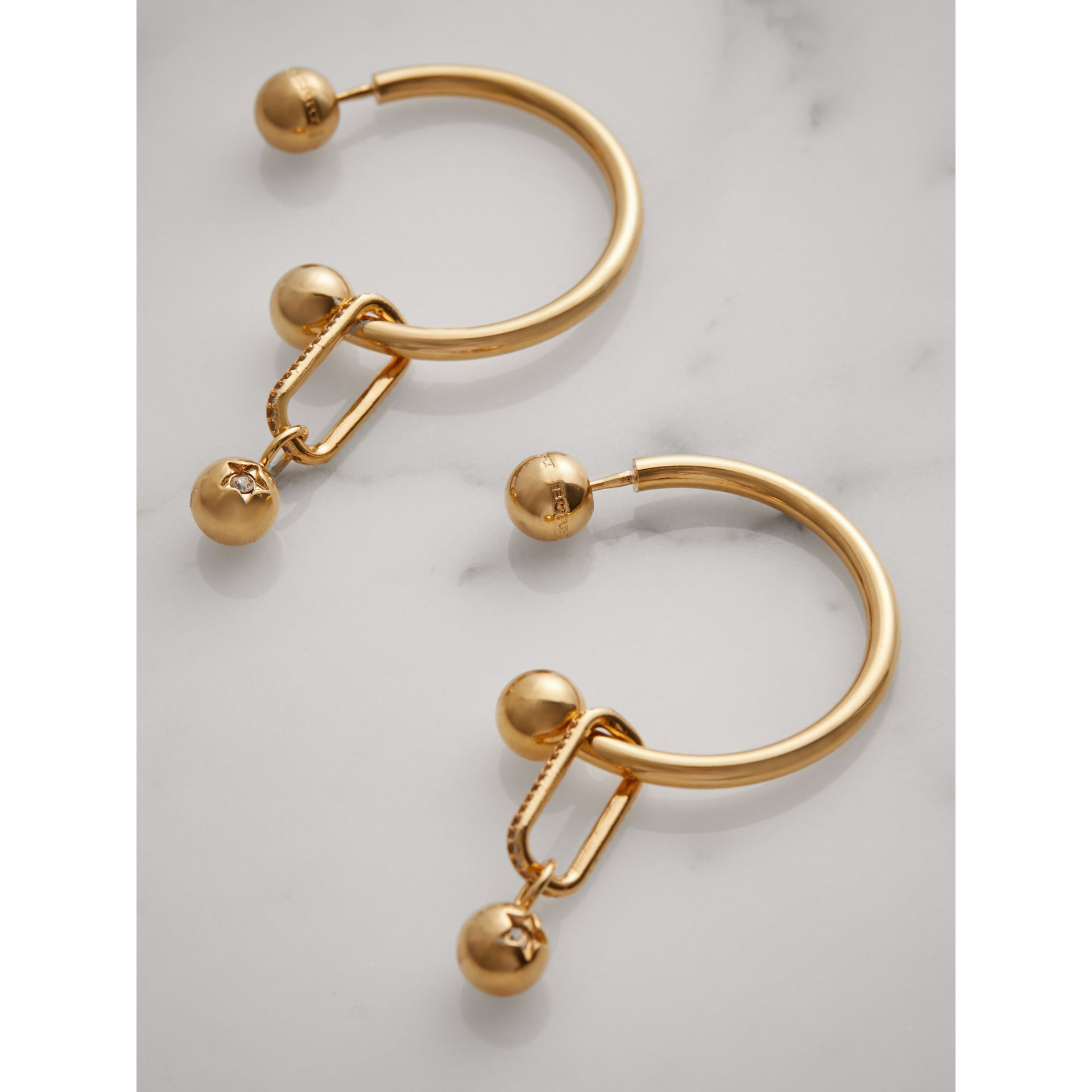 Crystal Charm Gold-plated Hoop Earrings in Light Gold/crystal - Women | Burberry - gallery image 2