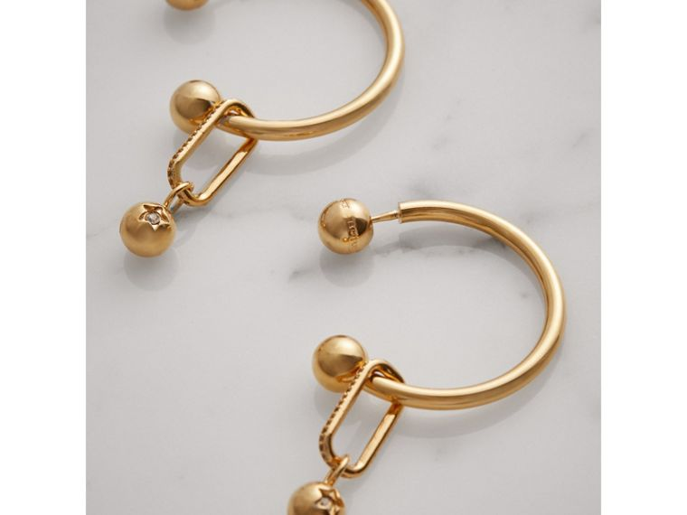 Crystal Charm Gold-plated Hoop Earrings in Light Gold/crystal - Women | Burberry - cell image 2