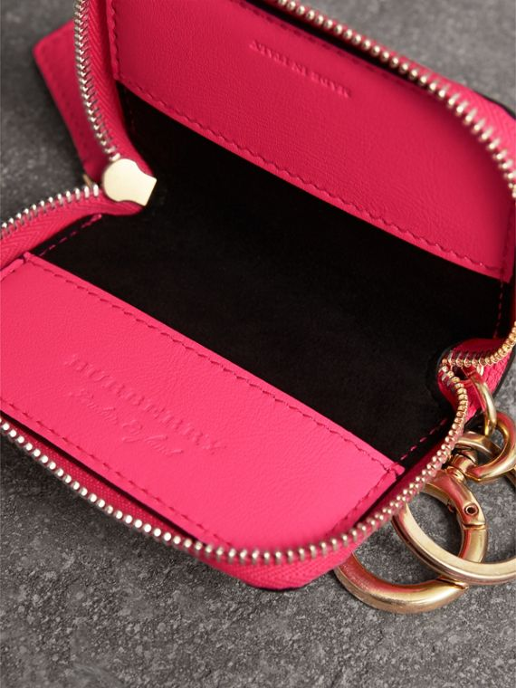 Embossed Leather Notebook Charm in Bright Pink | Burberry Singapore - cell image 3