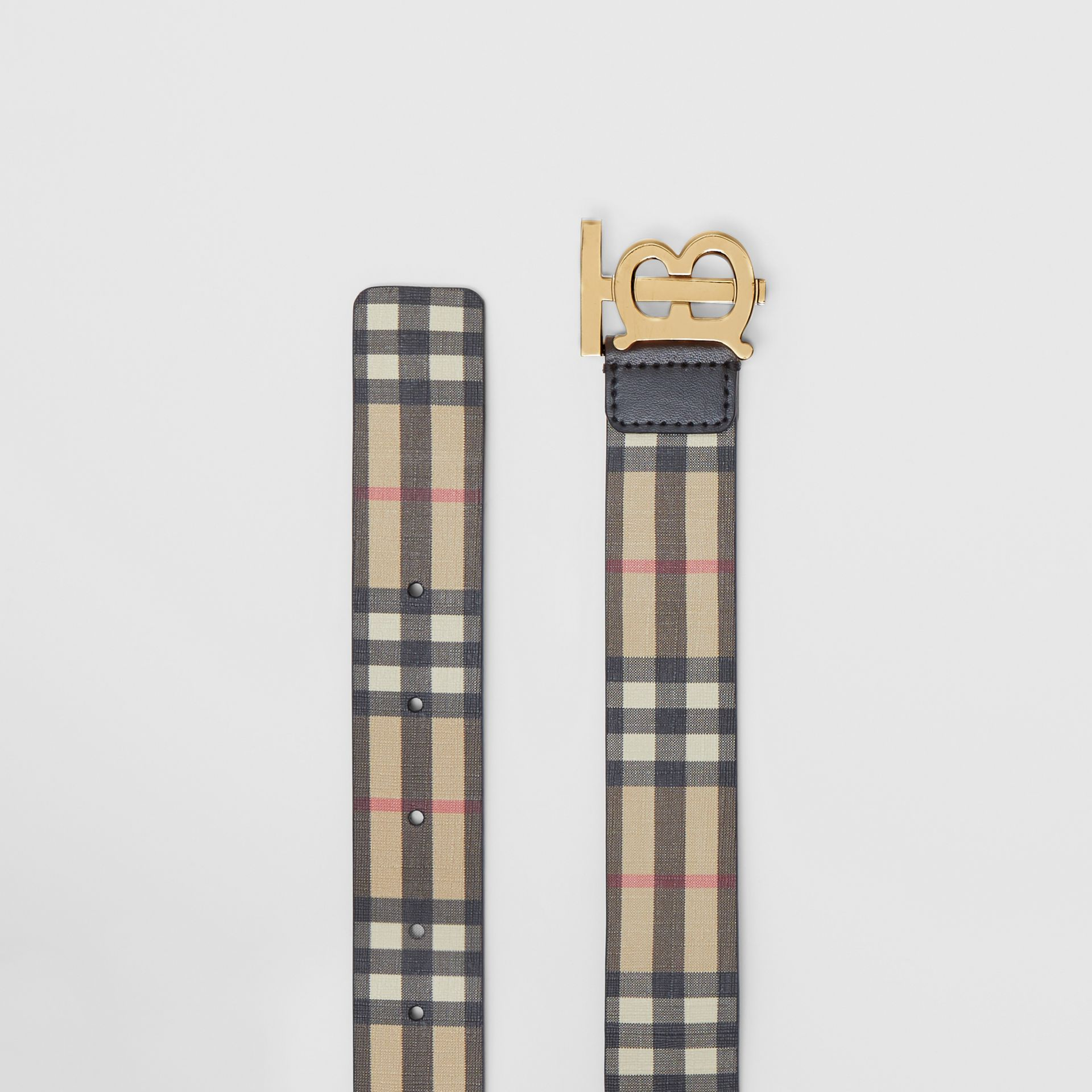 Monogram Motif Vintage Check E-canvas Belt in Archive Beige - Women | Burberry Canada - gallery image 5