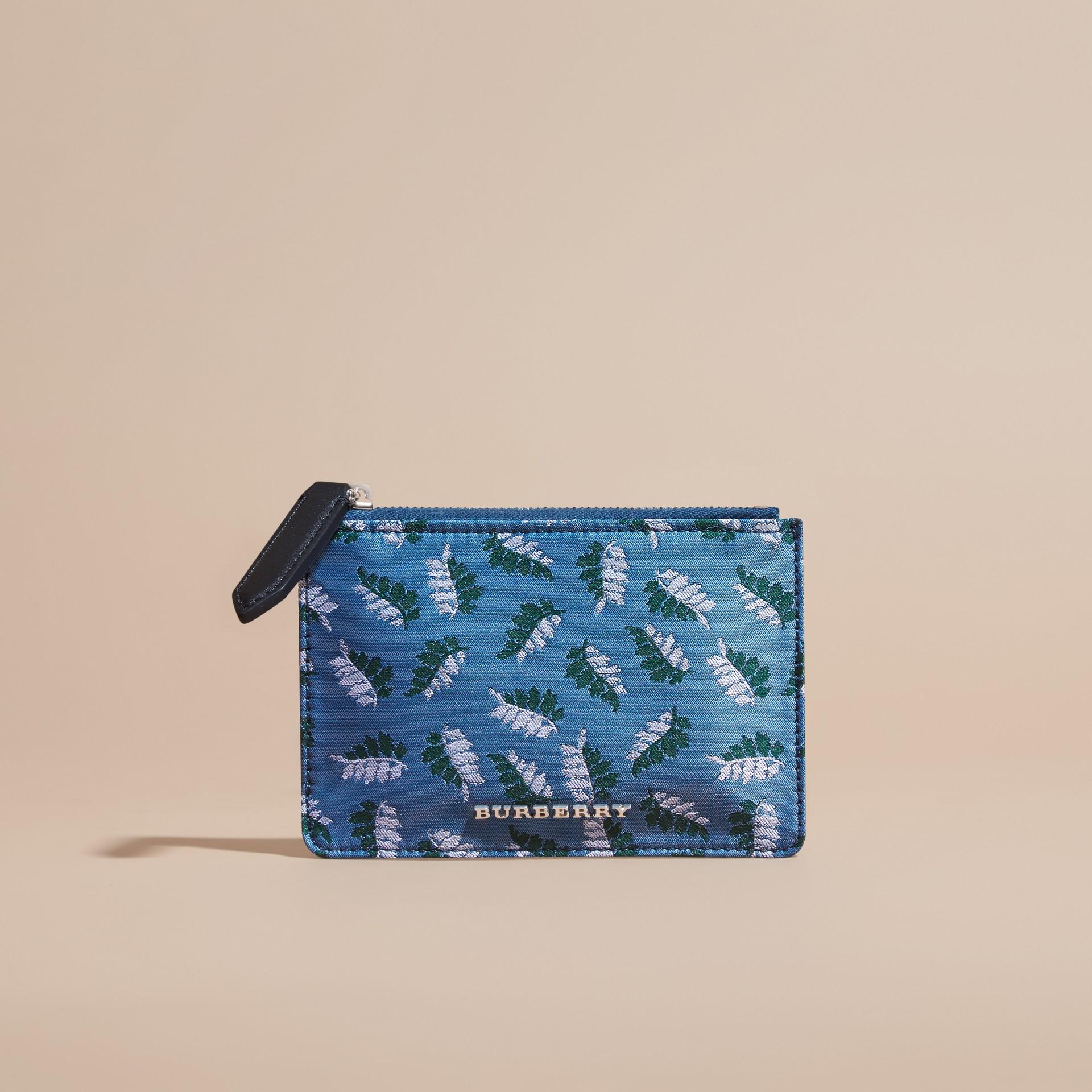 Bleu azur intense Portefeuille en jacquard à motif feuillage avec zip supérieur Bleu Azur Intense - photo de la galerie 6