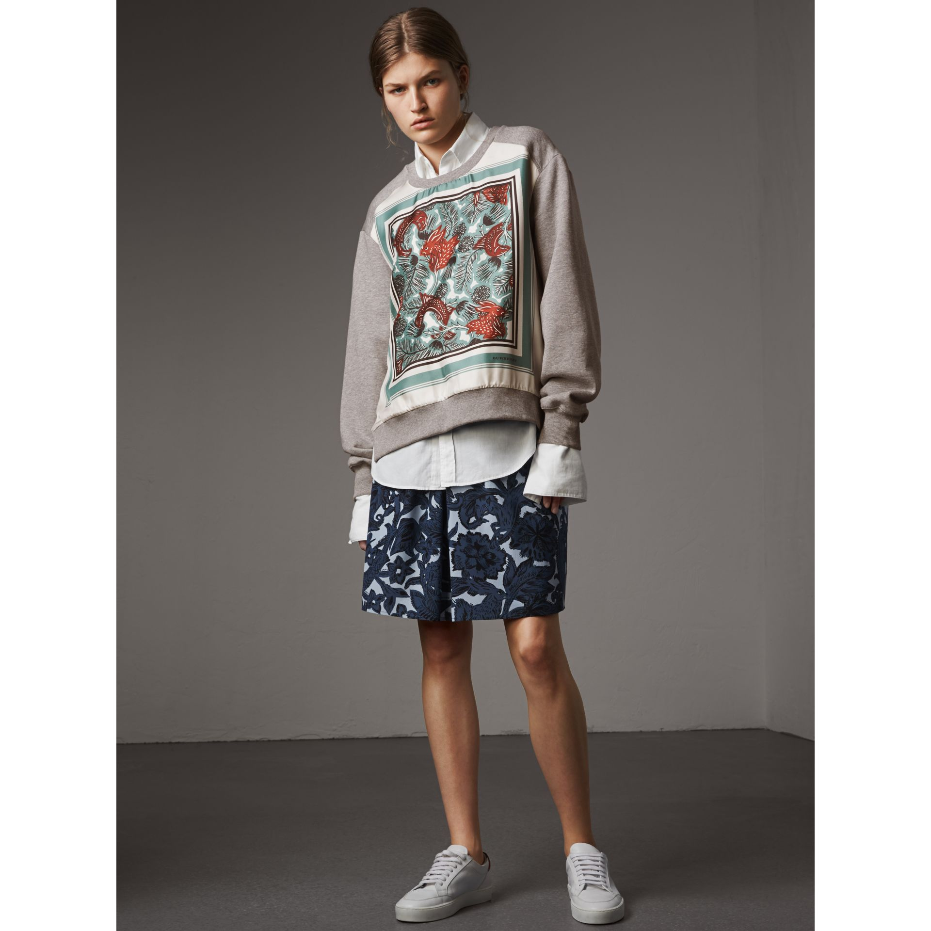 Beasts Print Silk Panel Jersey Sweatshirt in Pale Grey Melange - Women | Burberry - gallery image 5