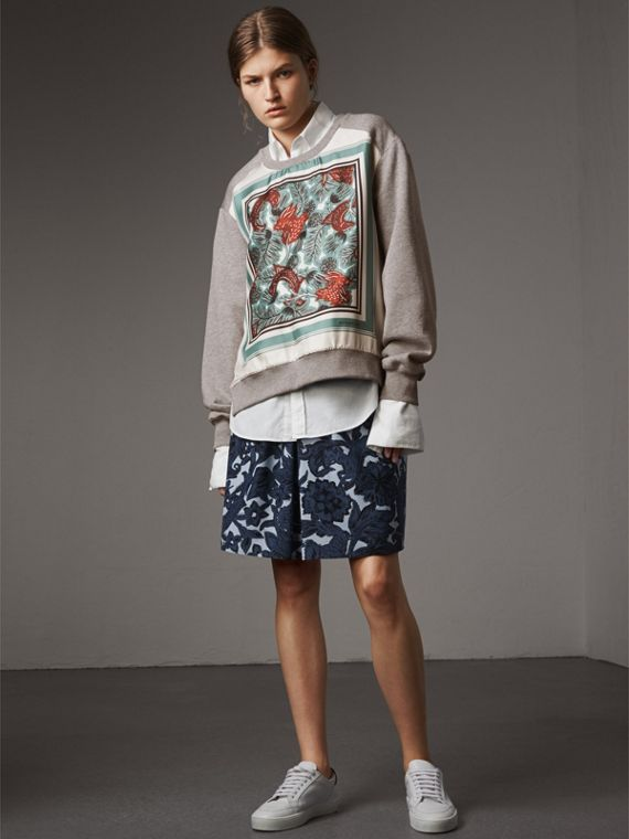 Beasts Print Silk Panel Jersey Sweatshirt - Women | Burberry - cell image 3