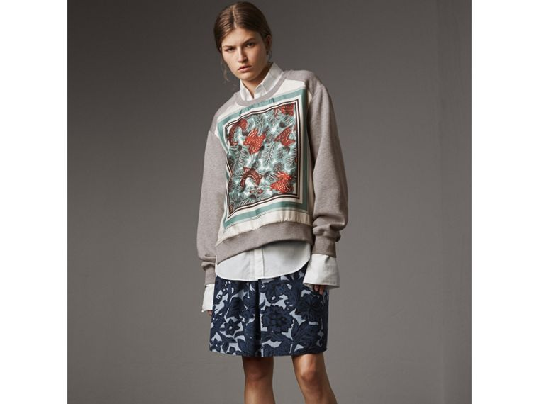 Beasts Print Silk Panel Jersey Sweatshirt in Pale Grey Melange - Women | Burberry - cell image 4
