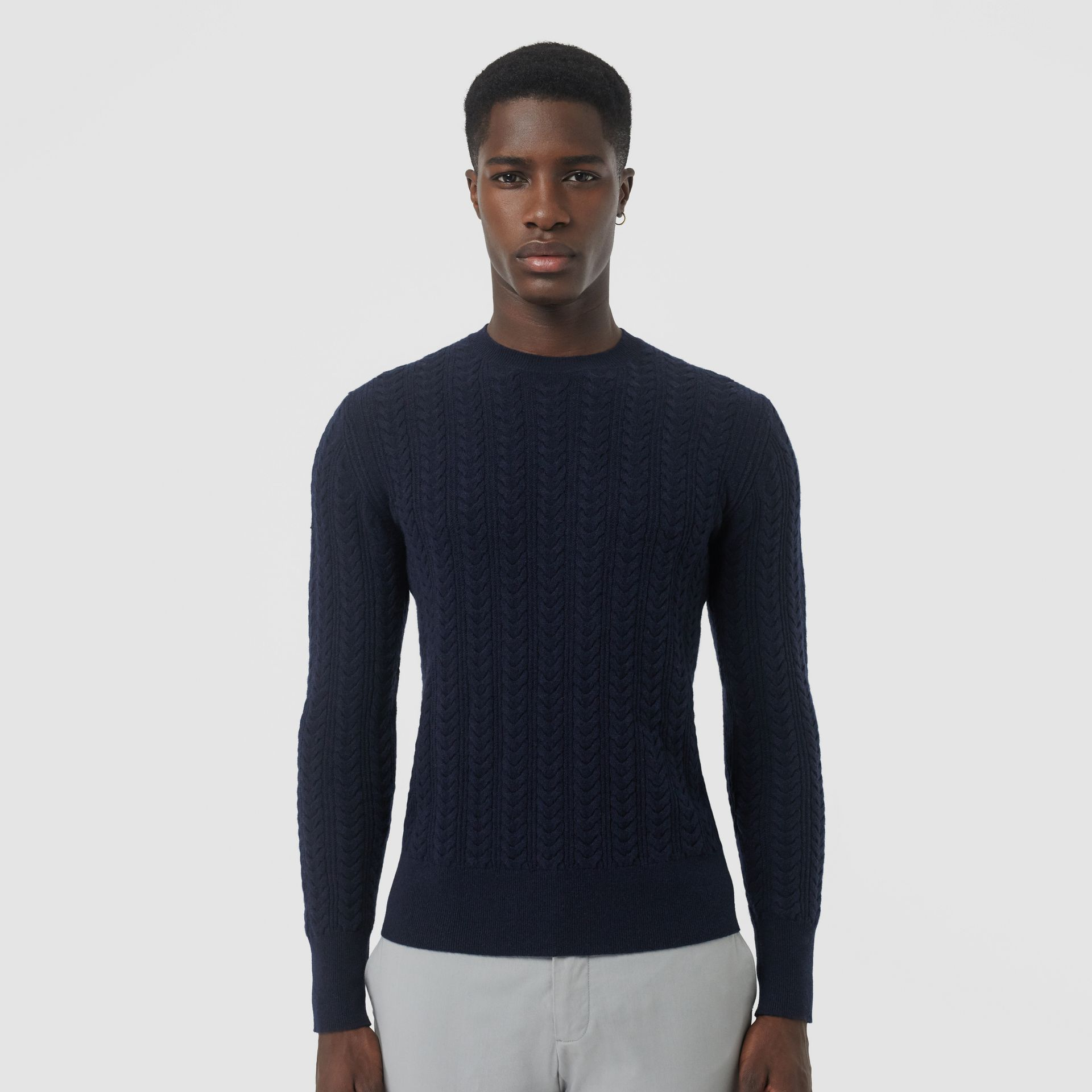 Cable Knit Cashmere Sweater in Navy - Men | Burberry - gallery image 4