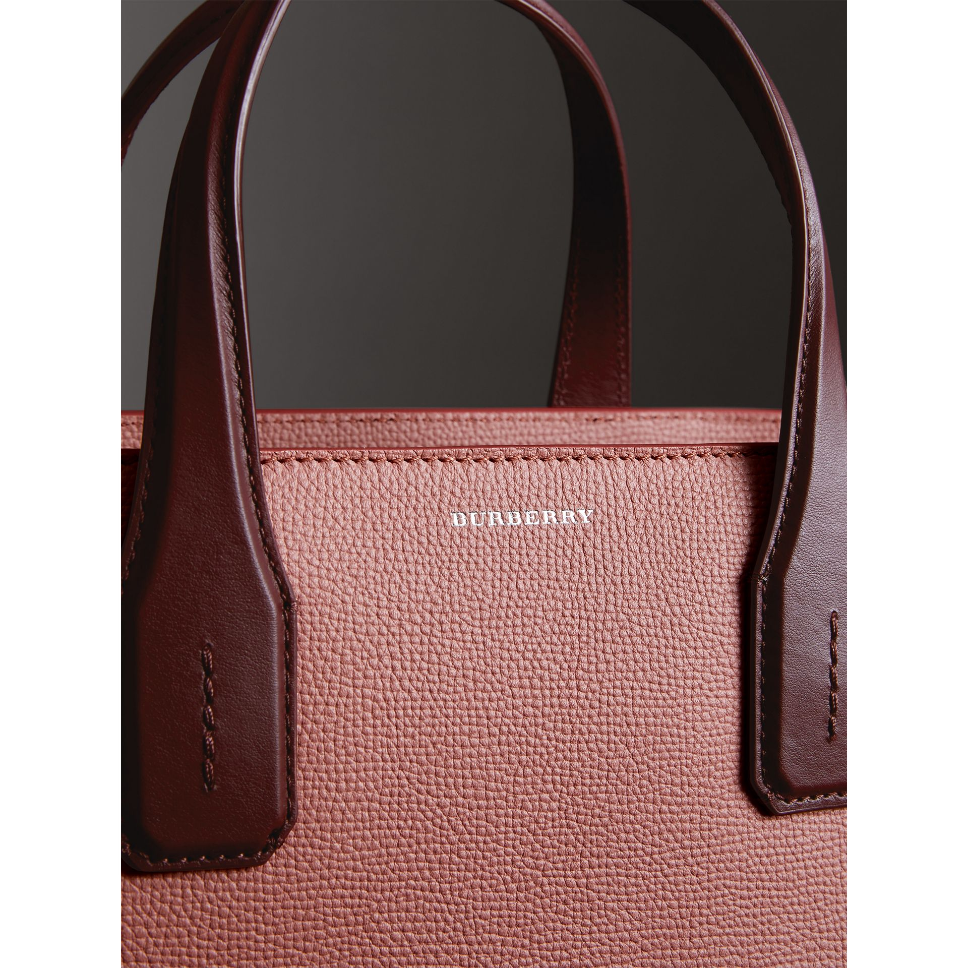 The Medium Banner in Two-tone Leather in Dusty Rose/deep Claret - Women | Burberry United States - gallery image 1