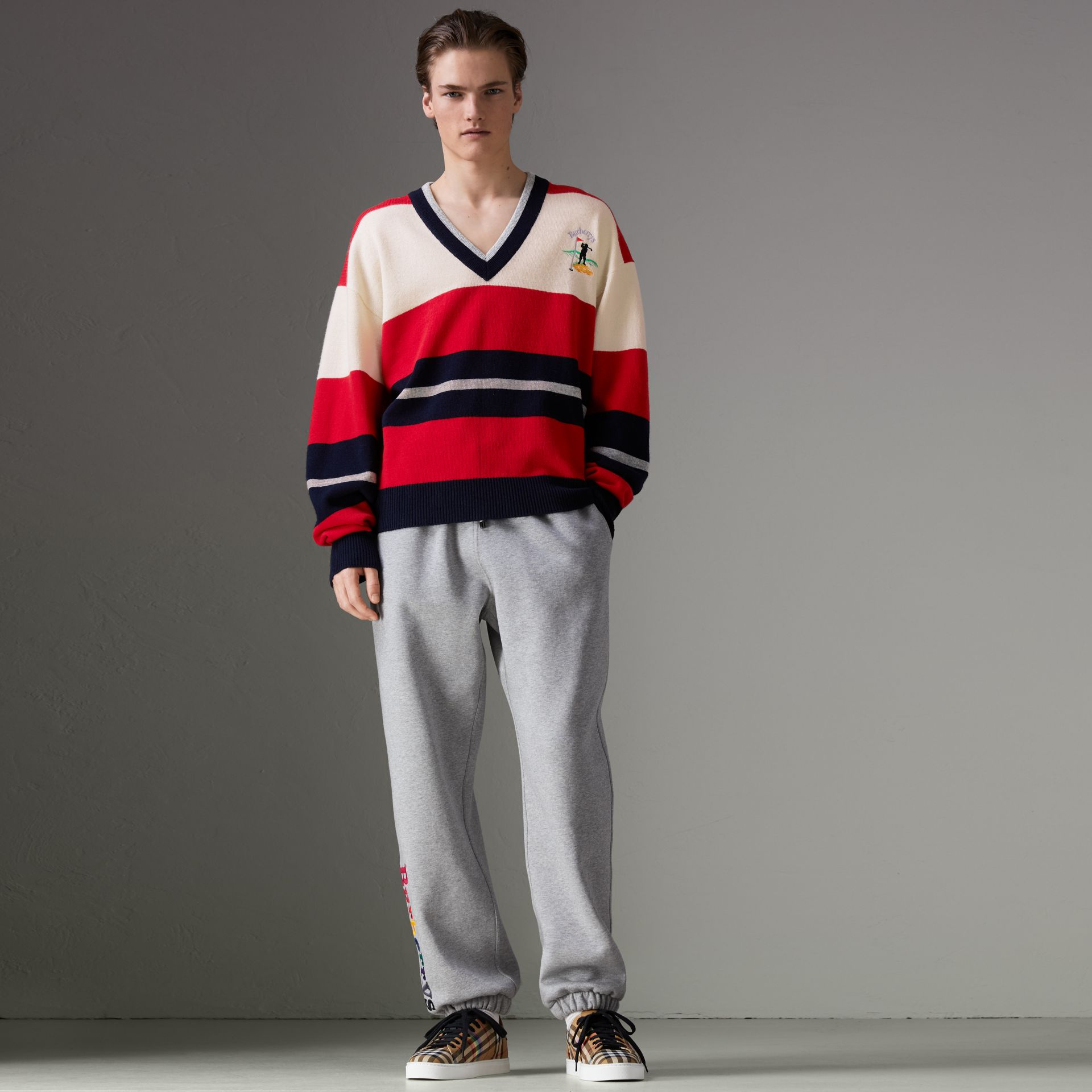 Reissued Striped Lambswool Sweater in Red/white - Men | Burberry United Kingdom - gallery image 6
