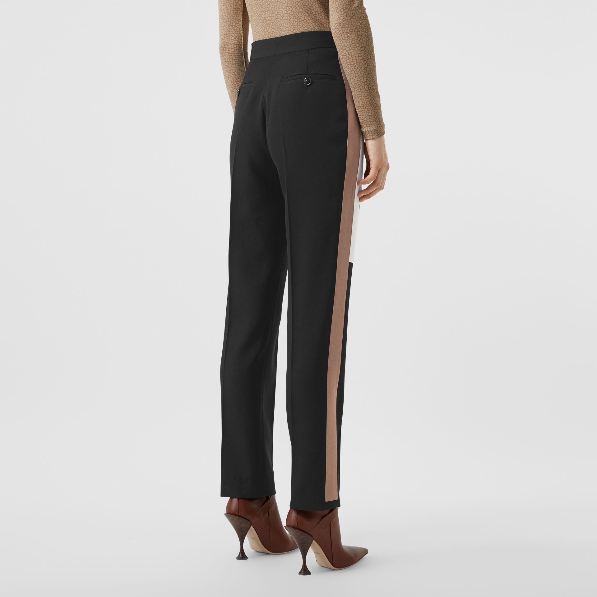 Stripe Detail Wool Tailored Trousers in Black - Women | Burberry - gallery image 2