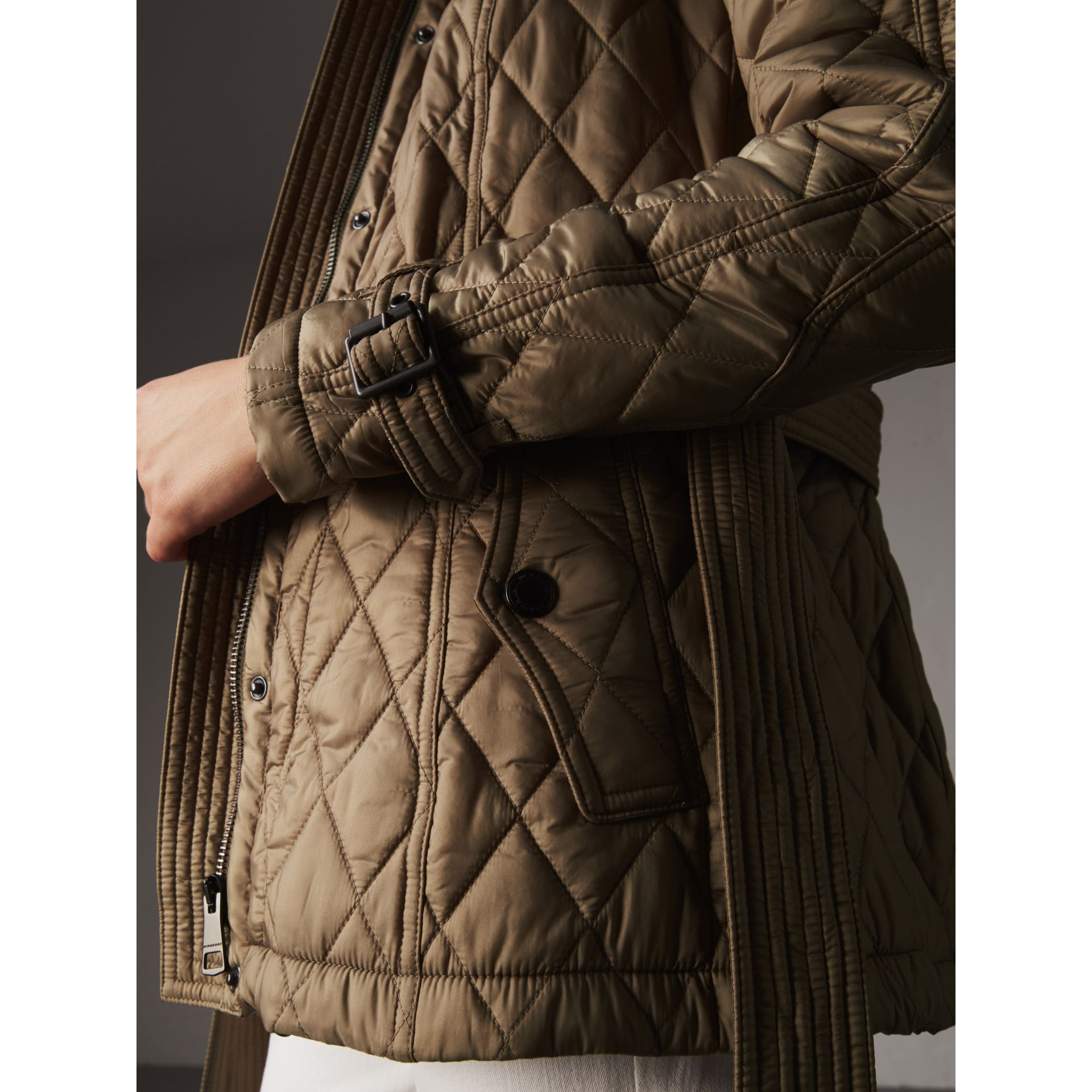 Quilted Trench Jacket with Detachable Hood in Pale Fawn - Women | Burberry - gallery image 4