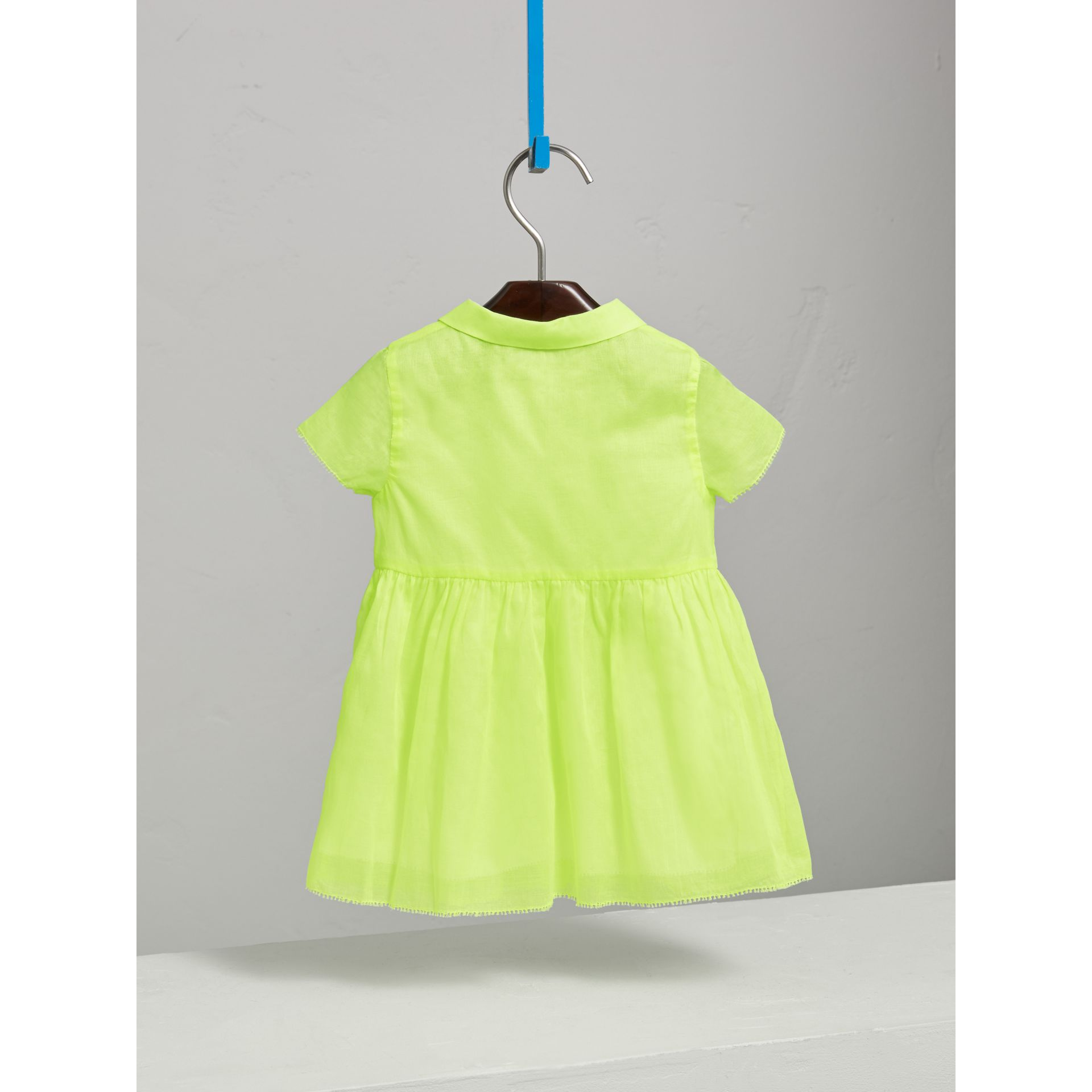 Pintuck Detail Cotton Voile Dress in Neon Yellow | Burberry - gallery image 3