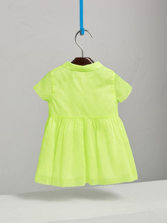 Pintuck Detail Cotton Voile Dress in Neon Yellow | Burberry - cell image 3