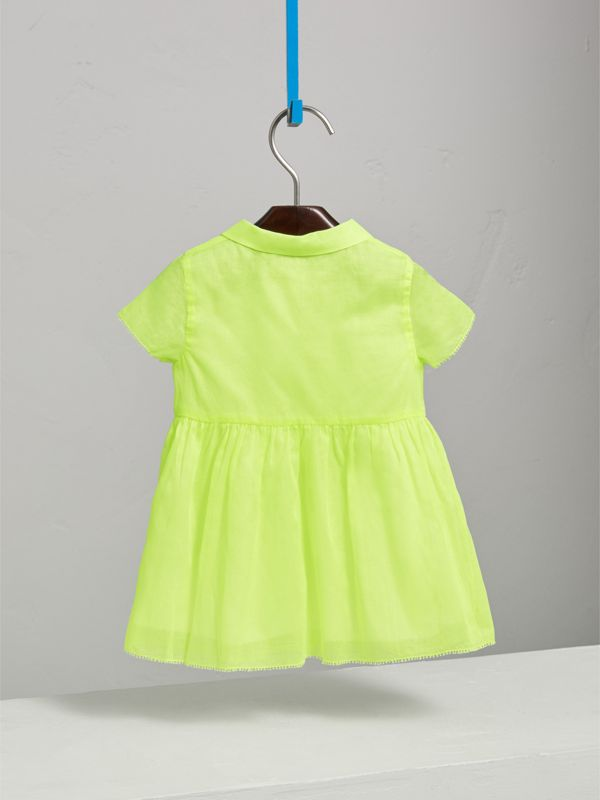Pintuck Detail Cotton Voile Dress in Neon Yellow | Burberry United Kingdom - cell image 3
