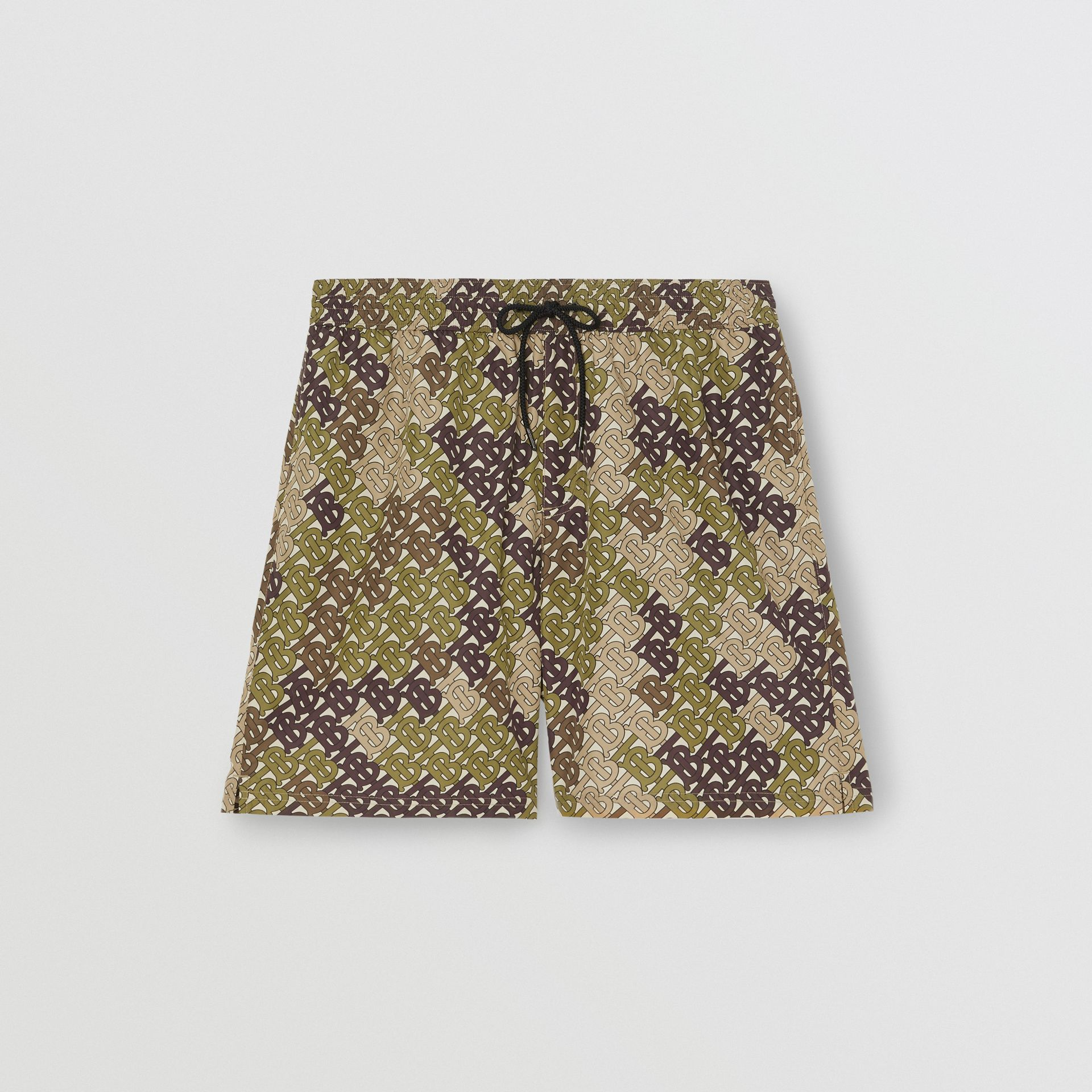 Monogram Print Drawcord Swim Shorts in Khaki Green - Men | Burberry Singapore - gallery image 2