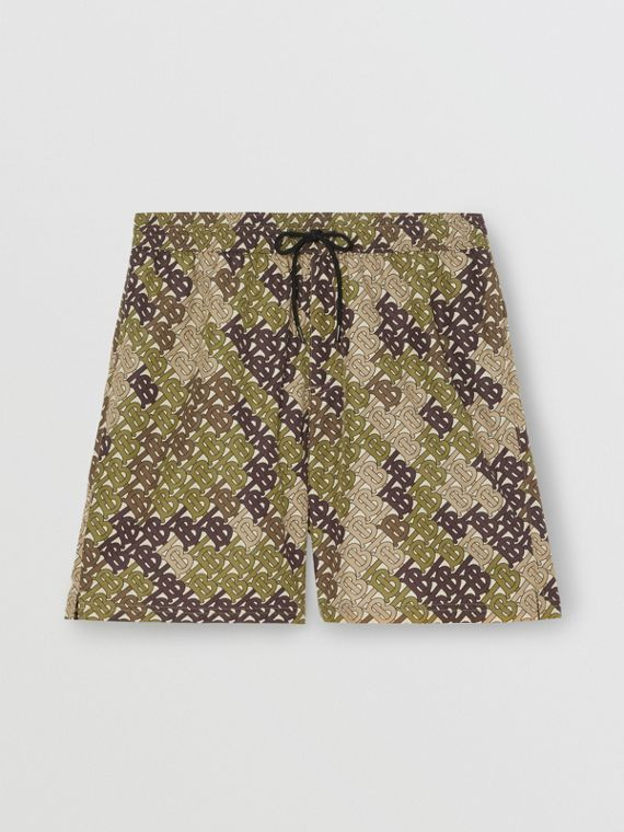 Monogram Print Drawcord Swim Shorts in Khaki Green