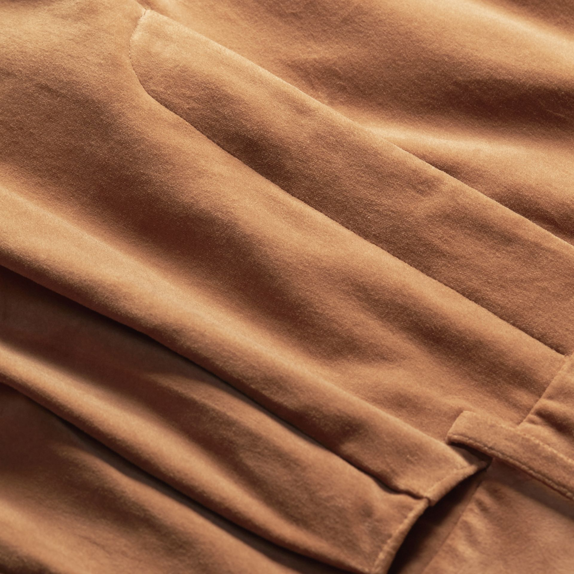 Mid camel Wide-leg Salt-washed Velvet Trousers Mid Camel - gallery image 2