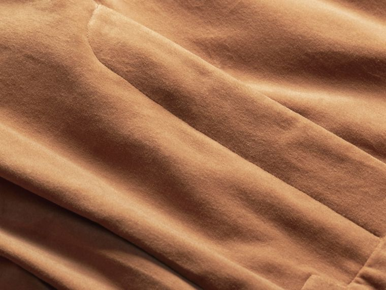 Wide-leg Salt-washed Velvet Trousers in Mid Camel - cell image 1