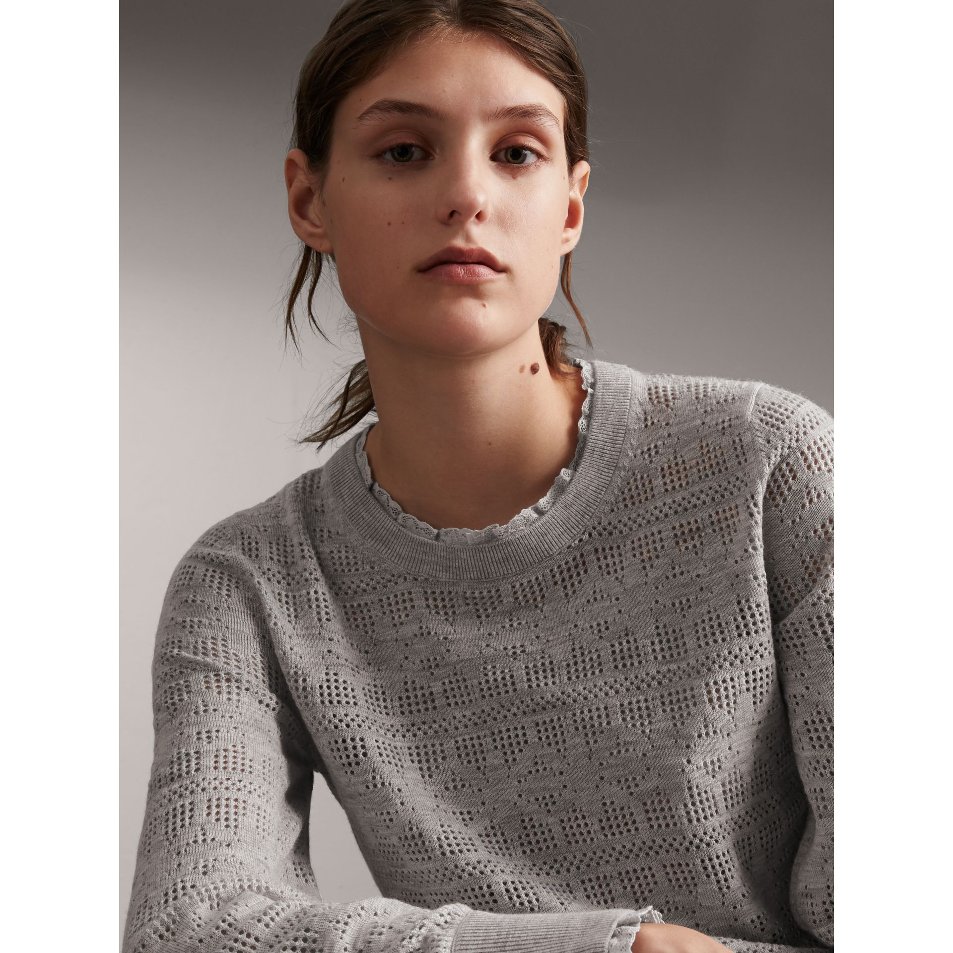 Lace Trim Pointelle Wool Cashmere Sweater in Light Grey Melange - Women | Burberry - gallery image 1