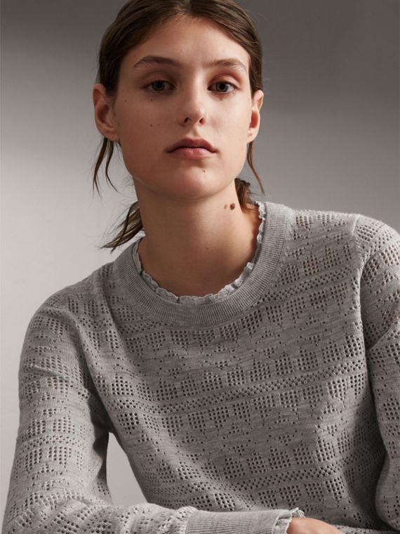 Lace Trim Knitted Wool Cashmere Sweater in Light Grey Melange