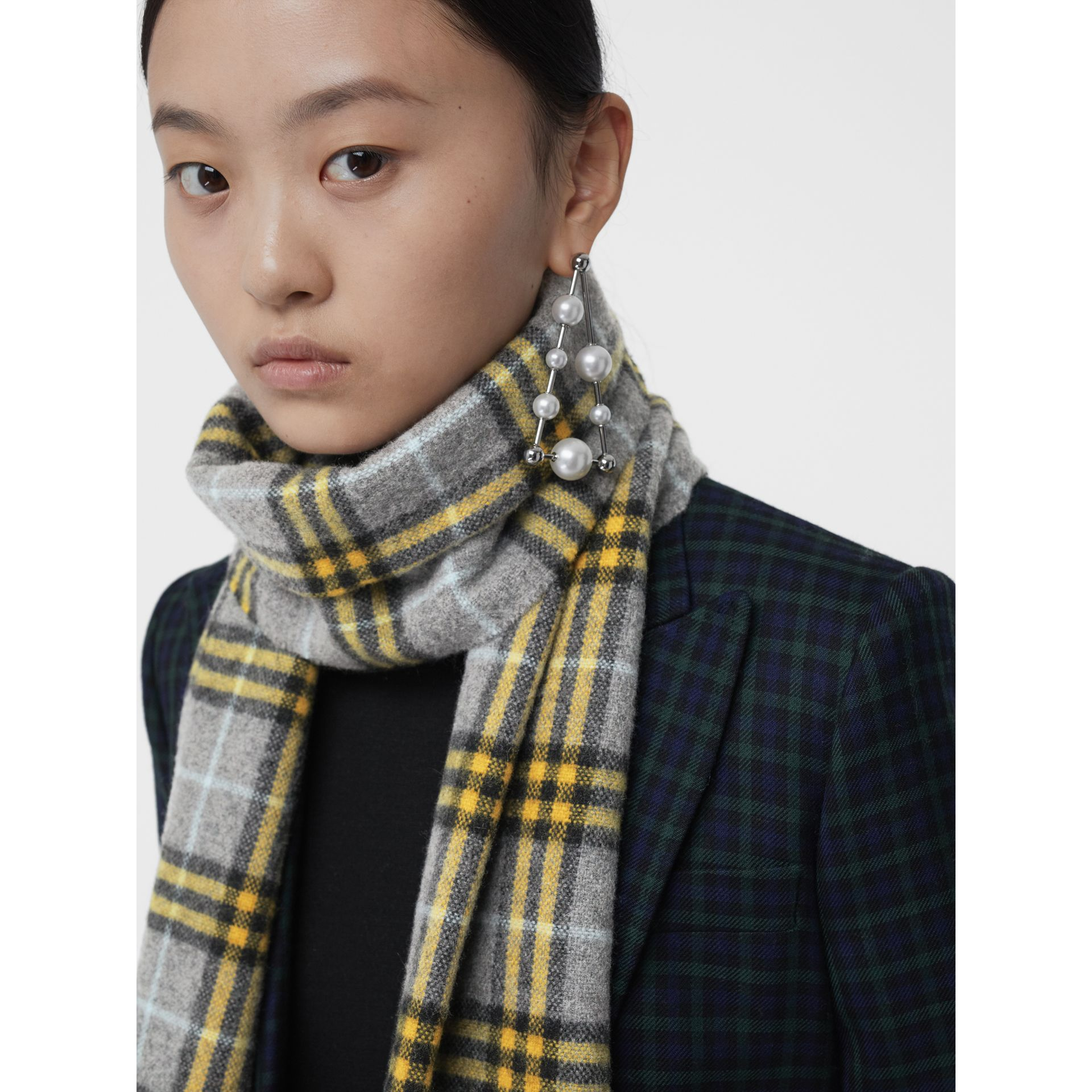 Check Cashmere Scarf in Storm Grey | Burberry United States - gallery image 6